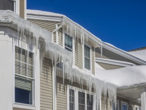 Ice Dam Clogged Gutters